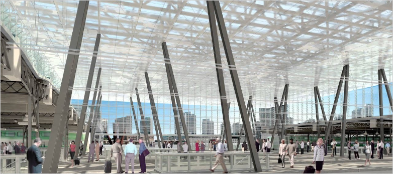Union Station interior, architectural rendering