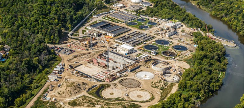 Waterloo Wastewater Treatment Plant, aerial view